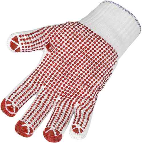 Feinstrickhandschuhe, Arbeitshandschuhe,weiss mit roten Noppen